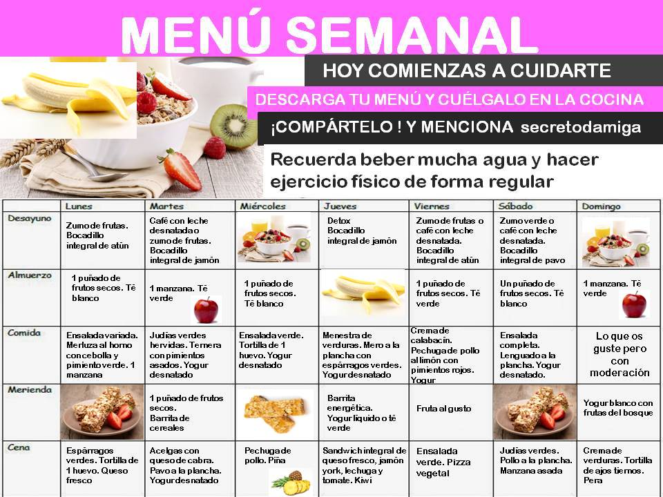 Como bajar de peso menú semanal mayo 3 - Secretodamiga
