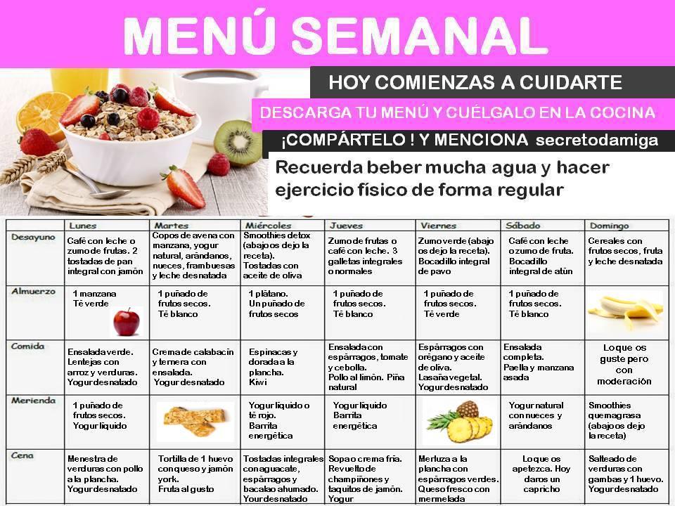 Como bajar de peso men semanal mayo 4 secretodamiga for Menus faciles y sanos