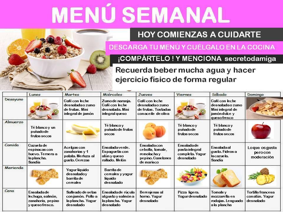 Como bajar de peso men semanal septiembre 1 secretodamiga for Dieta familiar y planificacion de menus diarios y semanales